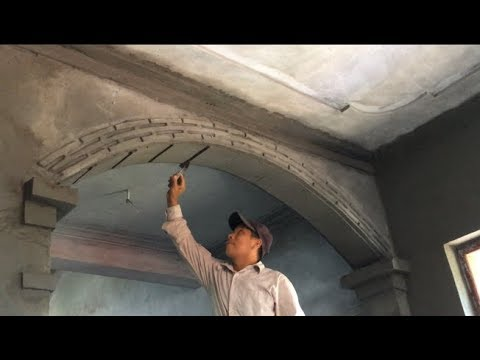 How To Build A Beautiful Arch On The Living Room Door - Rendering Sand And Cement