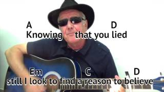 Reason To Believe - Rod Stewart - cover- easy chords guitar lesson - on-screen chords and lyrics