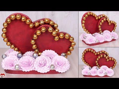 DIY - Paper Heart Showpiece    Room Decoration Idea 2019