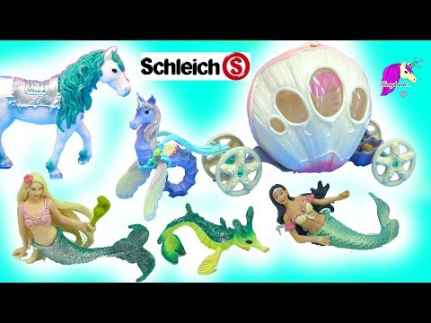 Schleich Mermaids, Horse, Unicorn Seahorses, and Royal Carriage Toys  Video