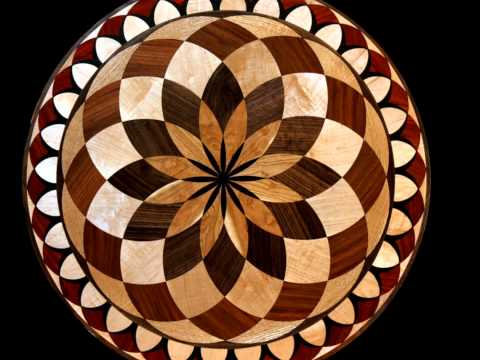 Robin tucker of wood mosaics tumbling block lazy susan for Wood floor medallion designs
