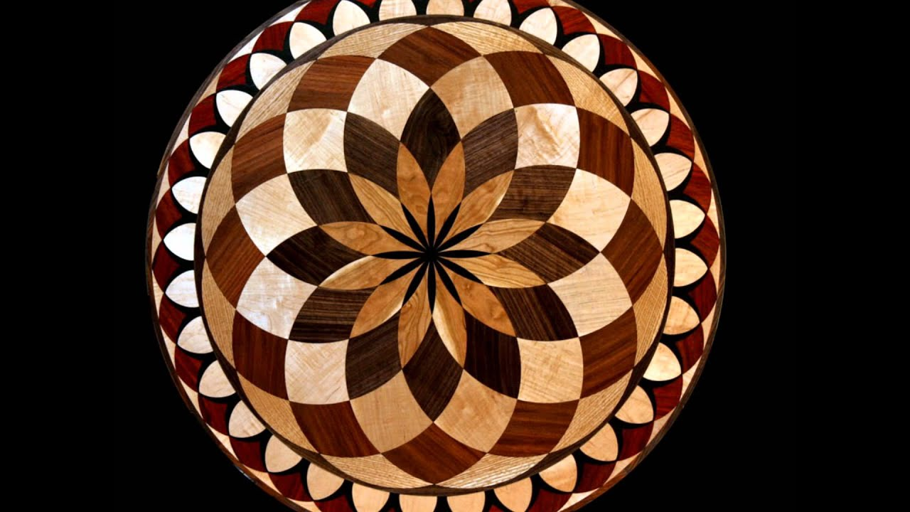 Wood floor medallions inlay designs youtube for Wood floor medallion designs