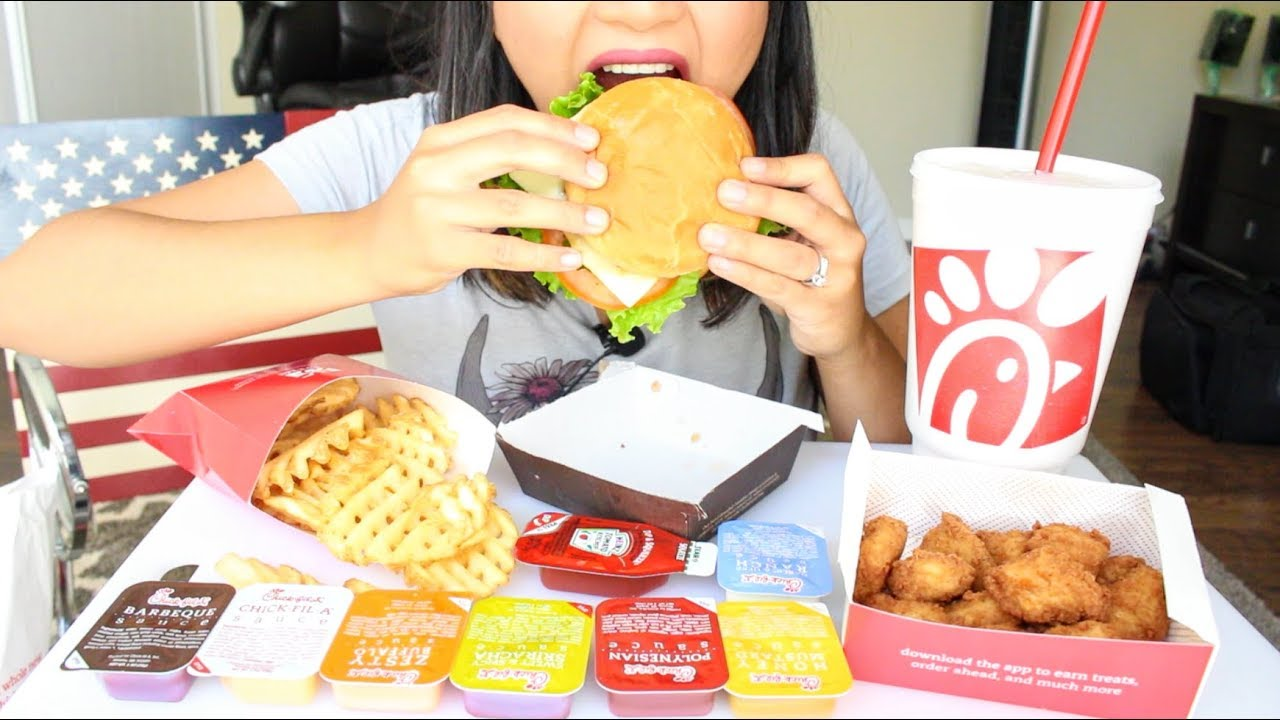 Asmr Chick Fil A Spicy Chicken Sandwich Waffle Fries And Nuggets Eating Sounds