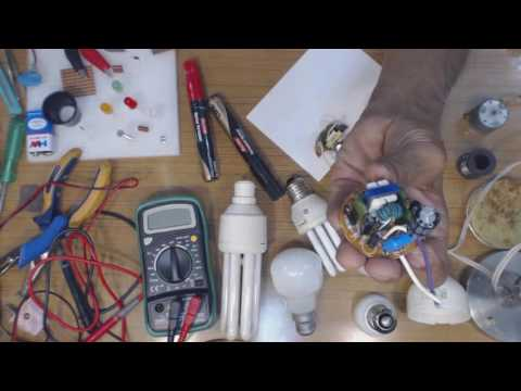 Make Mains LED Lamp using  parts from Fused CFL