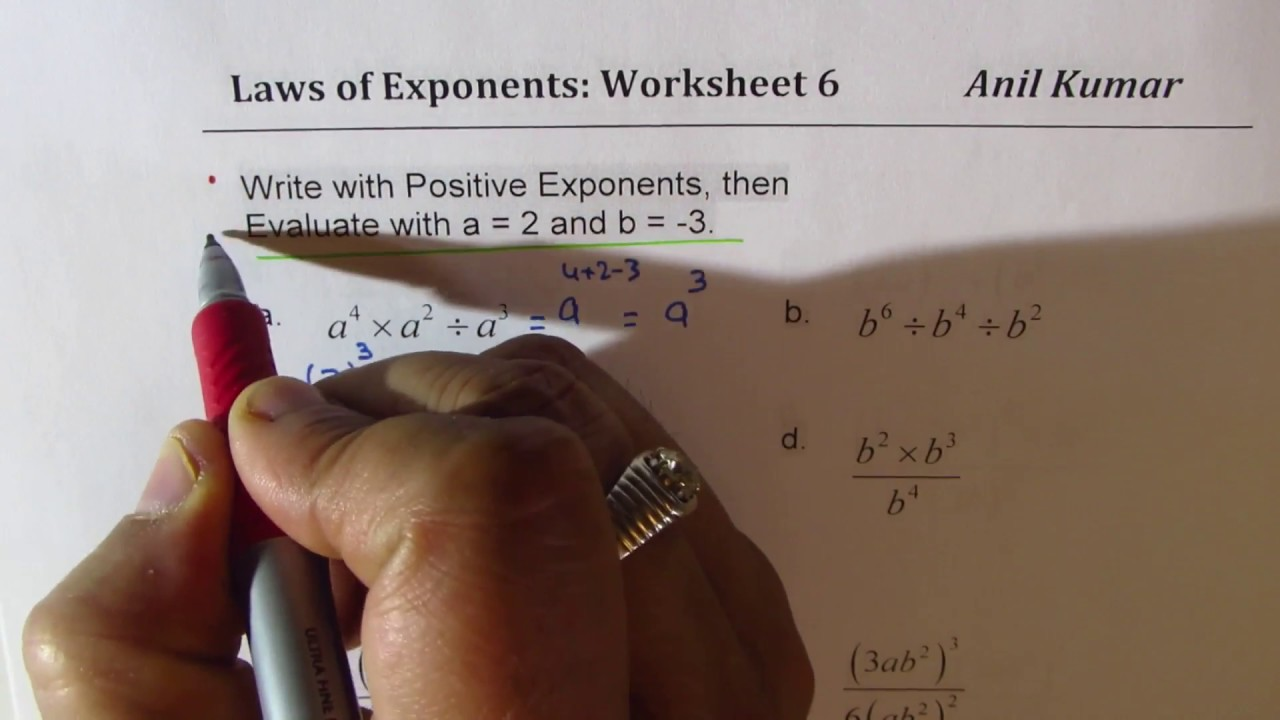 medium resolution of Laws of Exponents Worksheets Product Quotient and Power Rules Worksheet 4 -  7 - YouTube