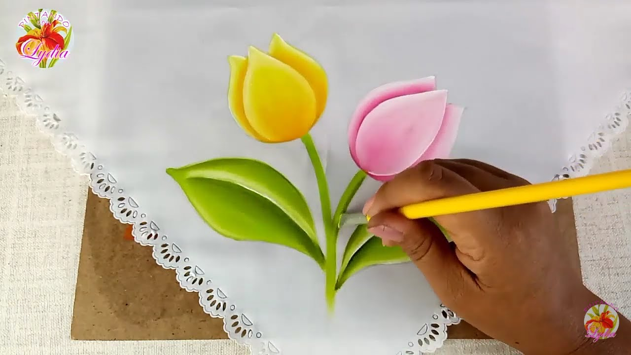 Pintura En Tela Para Principiantes Como Pintar Tulipanes How To Paint Tulips Youtube