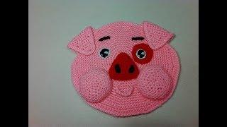 Прихватка - поросенок Пухля, ч.1. Pothook is a piggy Poohlya, р.1. Amigurumi. Crochet.