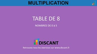 TABLE DE MULTIPLICATION DE 8 NOMBRE 2 11 : Exercices
