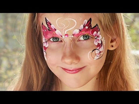 Face Painting Flowers Butterfly. Аквагрим мастер класс  бабочка с цветами.