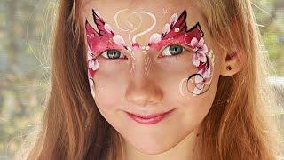 Face Painting flowers butterfly. Аквагрим мастер класс  бабочка с цветами.