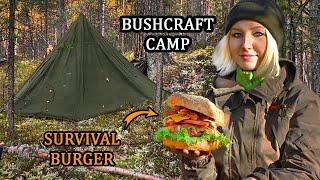 Обустройство БУШКРАФТ лагеря | Готовлю ЕДУ на костре | Чай из ЧАГИ, БУРГЕР | АСМР