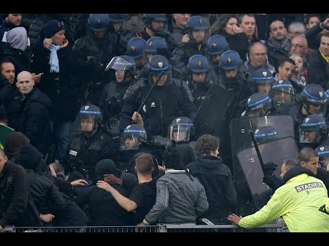 14/15 FC Nantes - Paris SG Fight between PSG Ultras and riot police in the stands
