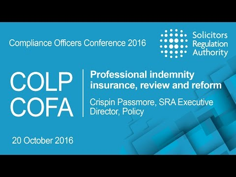 Professional indemnity insurance, review and reform | Compliance Officers Conference 2016