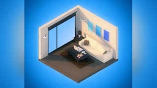 Isometric Living Room - Low Poly Speed Art