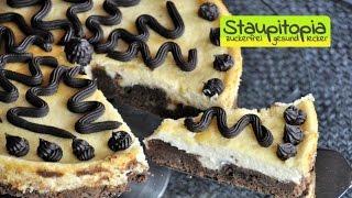 Low Carb Cheesecake Brownie Kuchen ohne Zucker und Mehl I Low Carb Käsekuchen mit Brownies backen