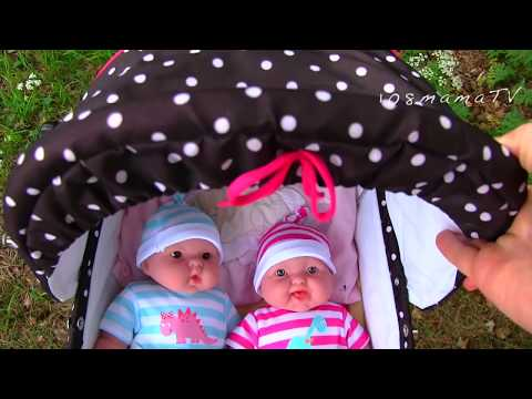 Dolls Puppies PLAY WITH TWINS Cartoon for children Stroller Toy