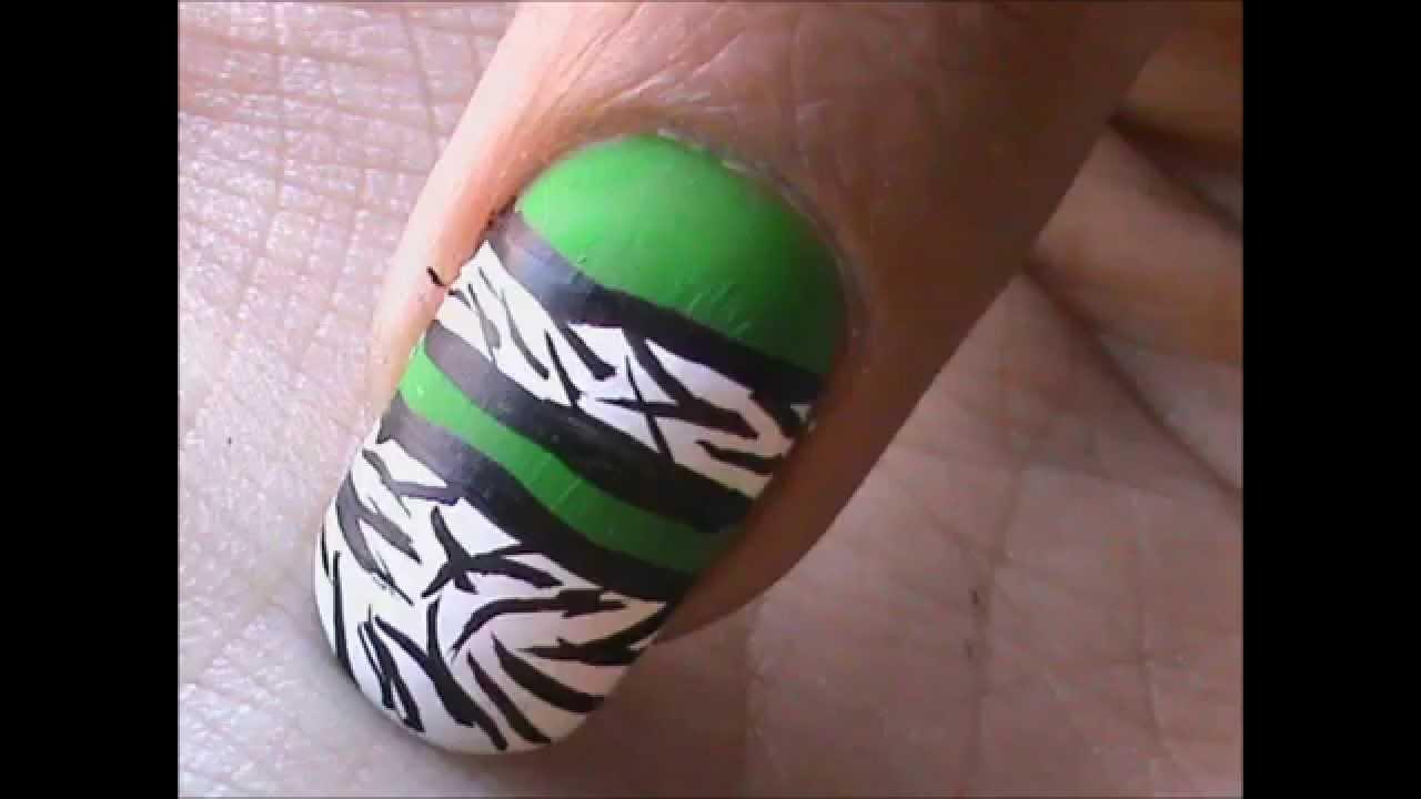Green Zebra Nail Art Designs Diy Youtube