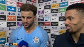 Kyle Walker and Gabriel Jesus react to Manchester City's 3-0 win over Wolves