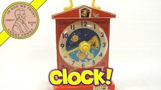 Fisher Price Music Box Teaching Wind Up Clock, 2005 Mattel Toys