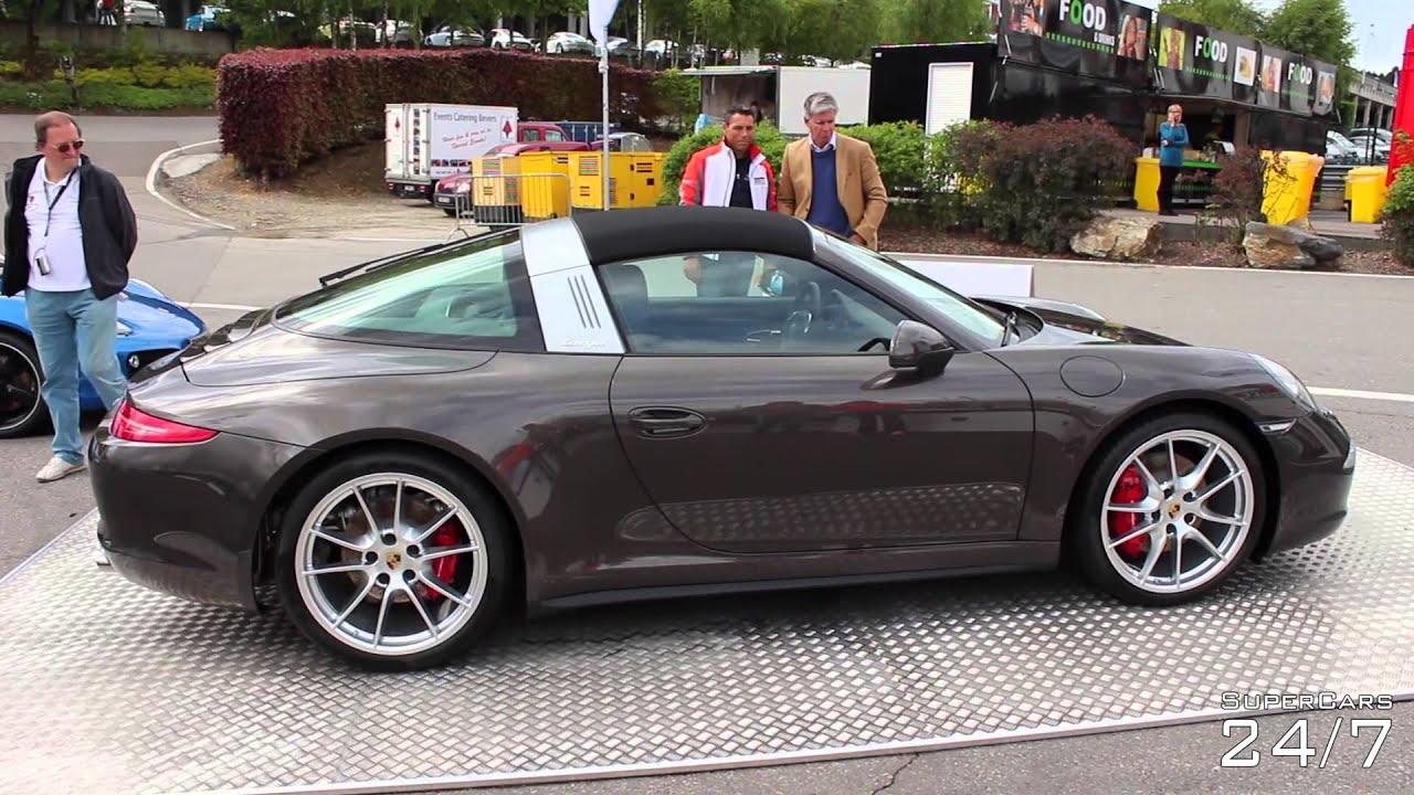 Popular Porsche 911 Targa 4S Roof In Action  Some Sport Exhaust Revs  YouTube