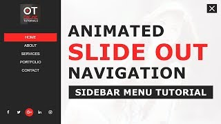 Animated Slideout Sidebar Menu with jQuery and CSS3  - Transforming Hamburger Menu icon - Tutorial