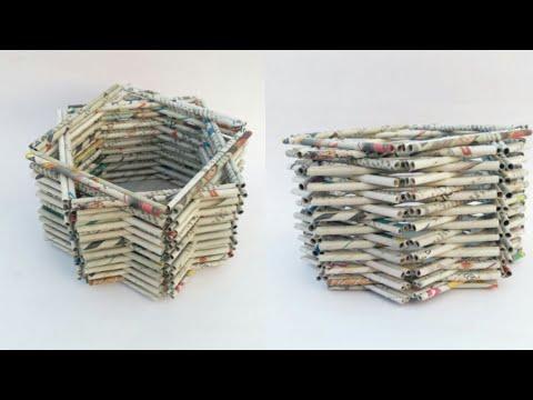 Newspaper basket | multi storage basket | newspaper tokri | newspaper craft | basket making | HMA193