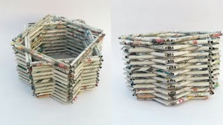 Newspaper basket | multi storage basket | newspaper tokri | newspaper craft | basket making | HMA193