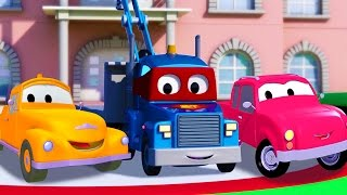 carl the super truck with tom the tow truck and pickup truck in car city   trucks cartoon for kids