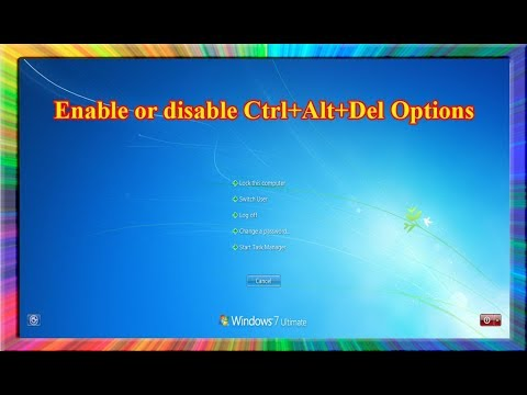 how to enable or disable the ctrl alt delete options in windows 7