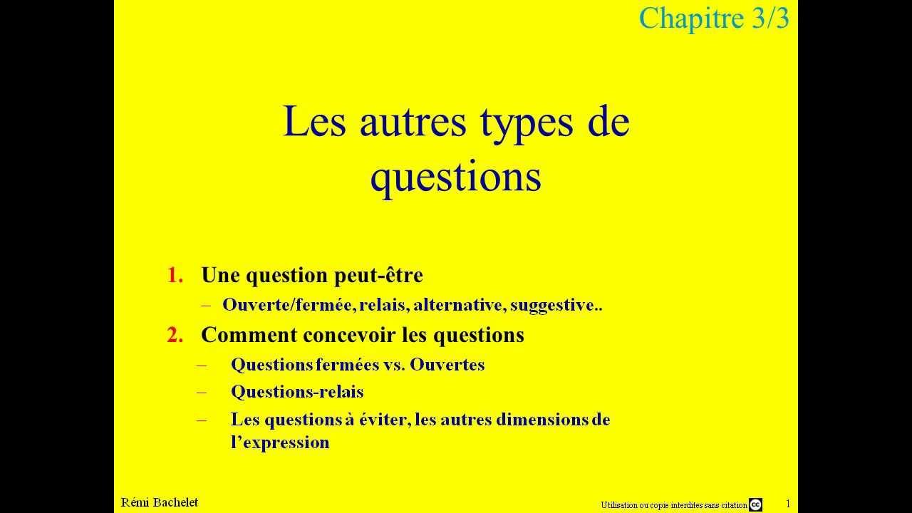Conduite d'entretien 4/5 - types de questions - YouTube
