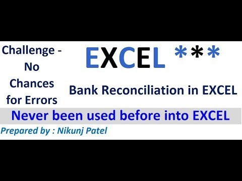 bank reconciliation in excel youtube