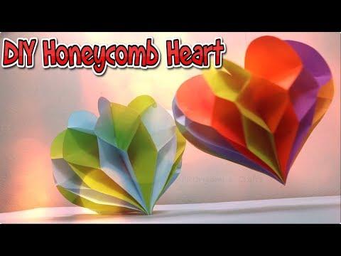 DIY Valentine's Day Decoration: Hanging Honeycomb Heart