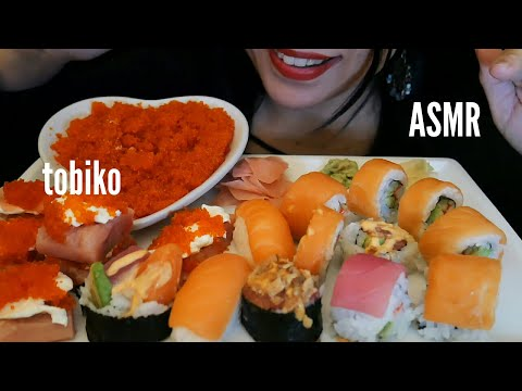 ASMR - FLYING FISH ROE EGGS & SUSHI/SOFT CHEWING SOUNDS (EATING SOUNDS)