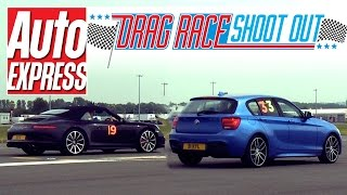 Porsche 911 Cabriolet vs BMW M135i - Drag Race Shoot-out