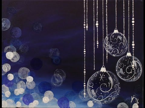 Blue Christmas Step by Step Acrylic Painting on Canvas for Beginners
