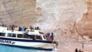 Navagio Beach landslide, Zakynthos rocks fall , tourists injured, Ζακύνθου, Ναβάγιου,