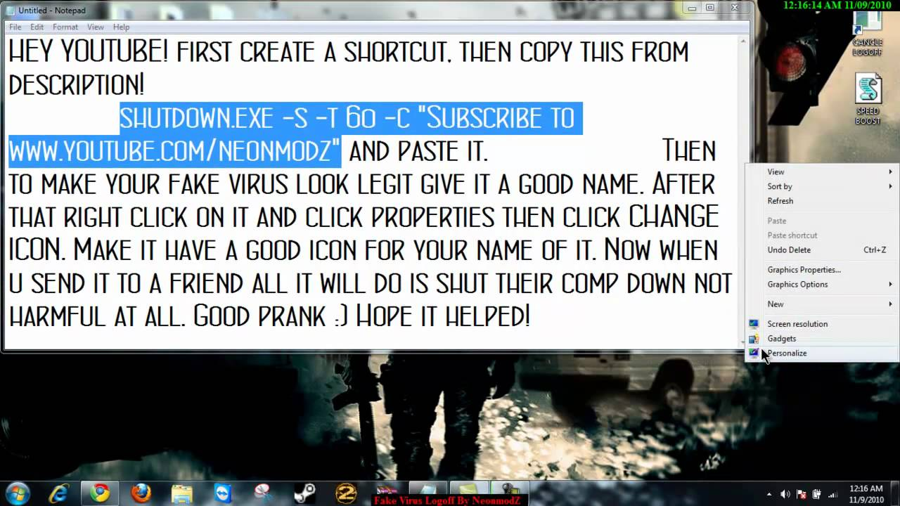 How To make a Fake Virus And Send It to Someone