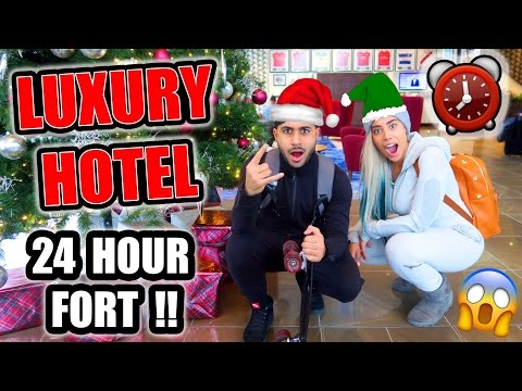 24 HOUR FORT IN A LUXURY HOTEL!! ⏰ 😱 (OVERNIGHT CHALLENGE)