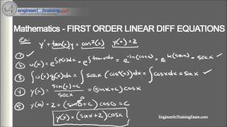 First Order Linear Differential Equations - Fundamentals of Engineering FE EIT Exam Review