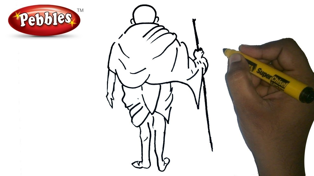 Gandhi jayanti drawing how to draw mahatma gandhi drawing for kids step by step