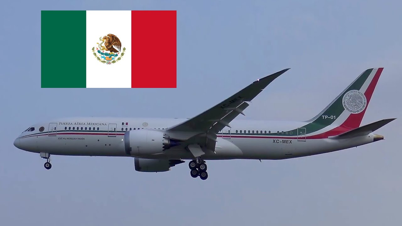 Mexican Air Force One President Enrique Peña Nieto landing at Hamburg Airport