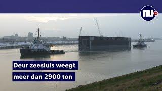72 meter lange deur van 's werelds grootste zeesluis komt aan in IJmuiden