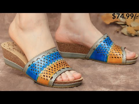 WOMEN SOCOFY FLOWER COMFORT LEATHER SLIP ON SANDAL SHOES DESIGN FOR LADIES FOOTWEAR COLLECTION