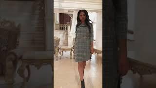 P 2052 Платье повседневное в мелкую клетку video
