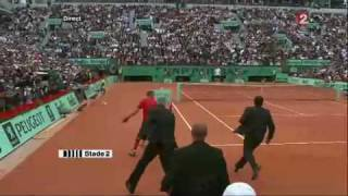 Spanish Streaker Attacks Federer