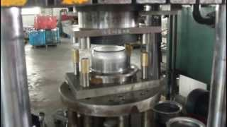 Hydraulic press doing fabrication for Stainless steel pot, sink forming process