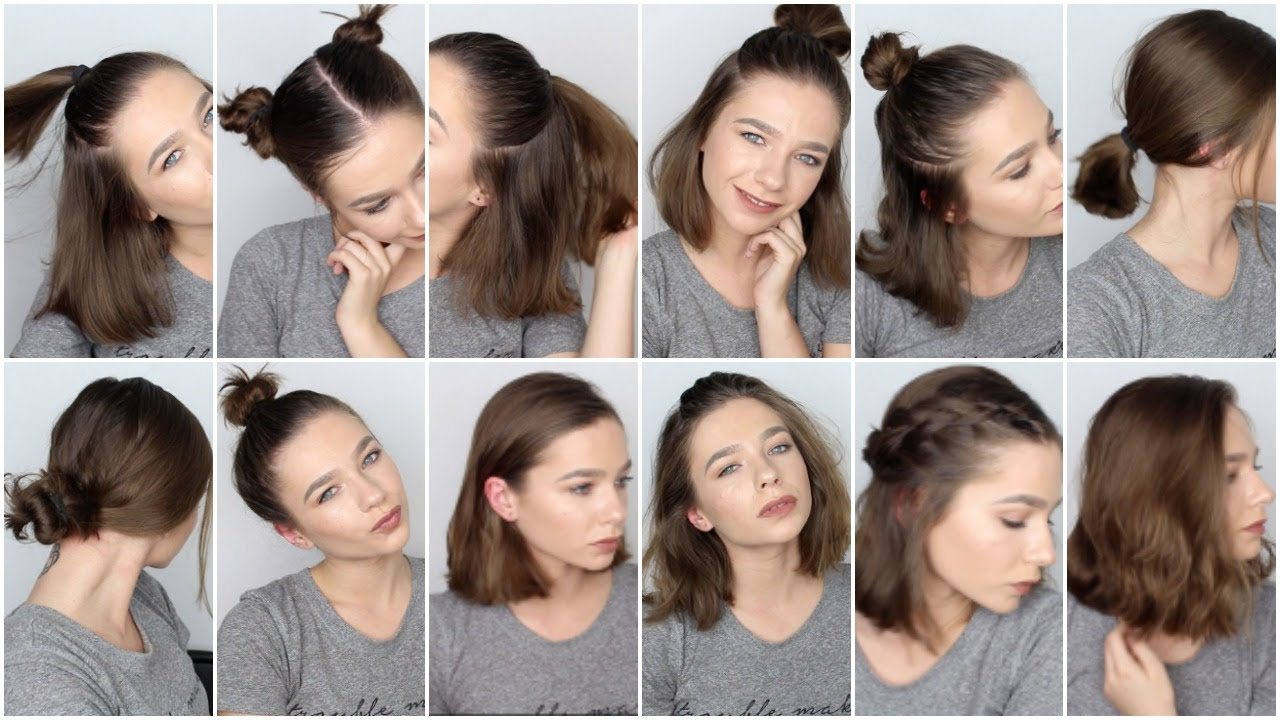 12 EASY HAIRSTYLES FOR SHORT HAIR ♡ YouTube