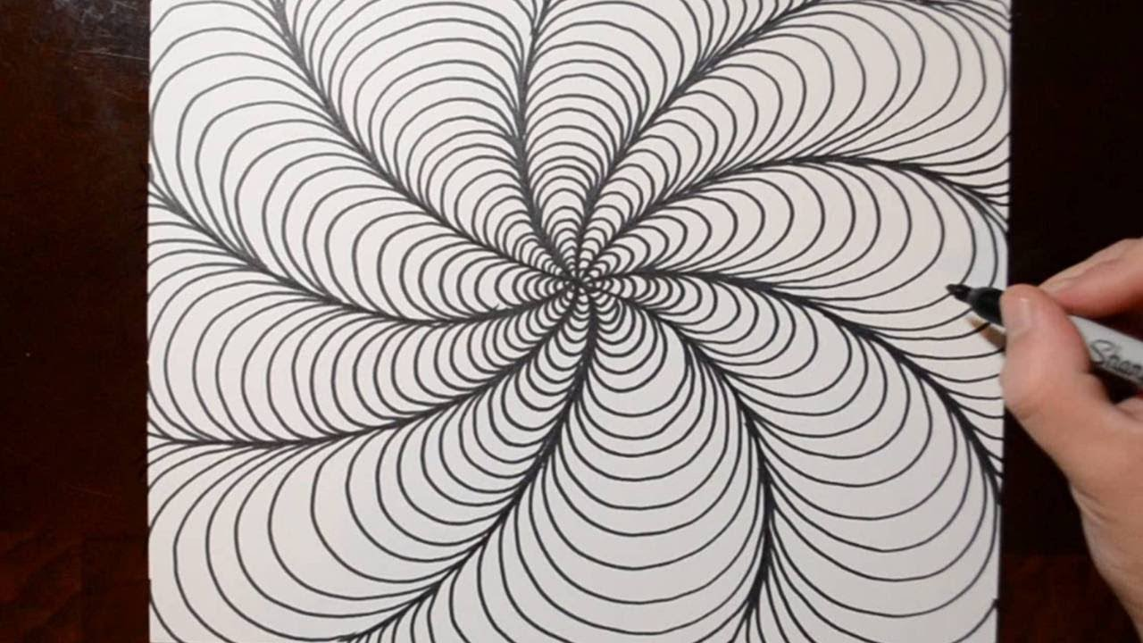 How to Draw Optical Line Illusions - Spiral Doodle Pattern 9 - YouTube