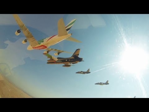 Emirates A380 Formation flight with 26 aircraft at Dubai Airshow 2019