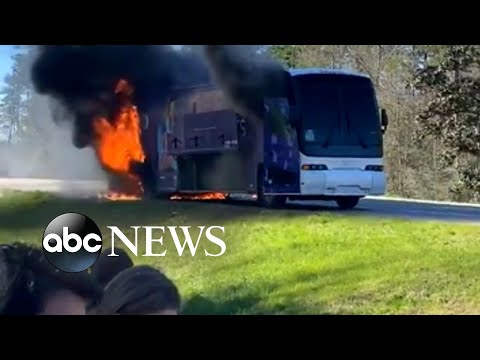 Bus catches on fire with students onboard